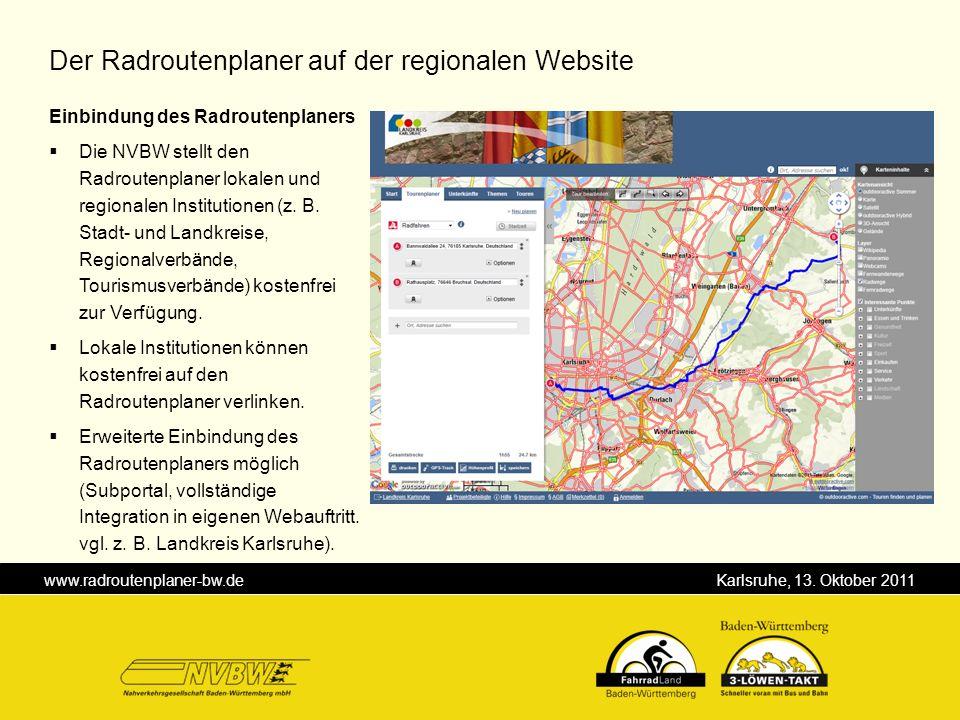 Der Radroutenplaner auf der regionalen Website