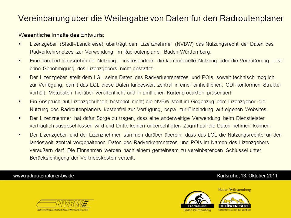 Vereinbarung über die Weitergabe von Daten für den Radroutenplaner