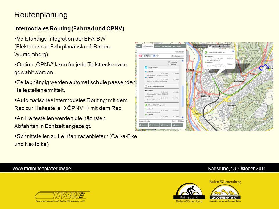 Routenplanung Intermodales Routing (Fahrrad und ÖPNV)