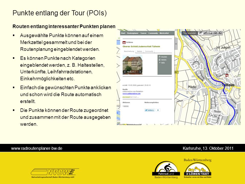 Punkte entlang der Tour (POIs)