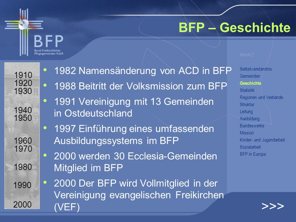 BFP – Geschichte >>> 1982 Namensänderung von ACD in BFP