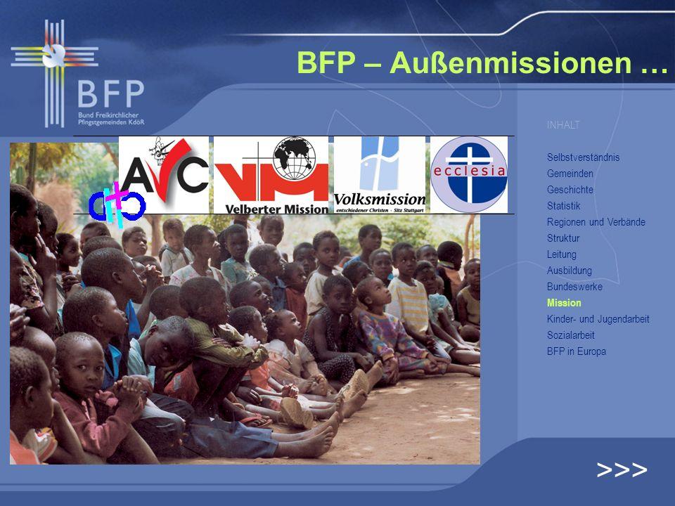 BFP – Außenmissionen … >>> INHALT Selbstverständnis Gemeinden