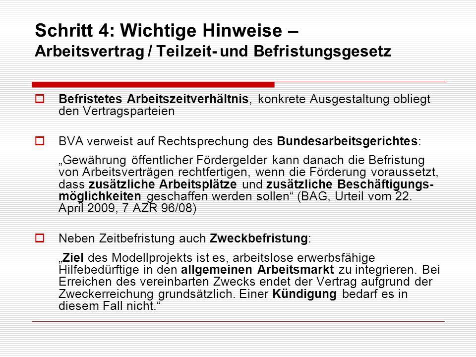 Schritt 4: Wichtige Hinweise – Arbeitsvertrag / Teilzeit- und Befristungsgesetz