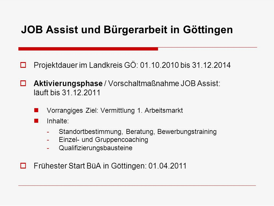 JOB Assist und Bürgerarbeit in Göttingen
