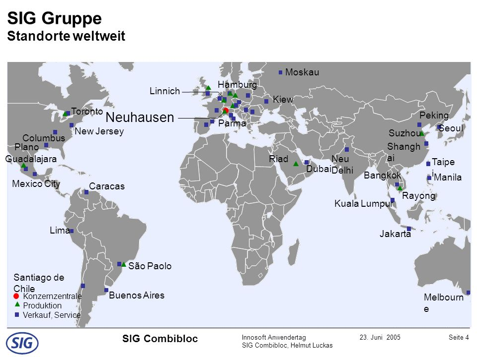 SIG Gruppe Standorte weltweit