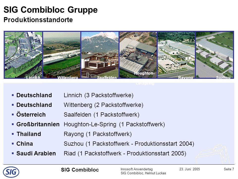 SIG Combibloc Gruppe Produktionsstandorte
