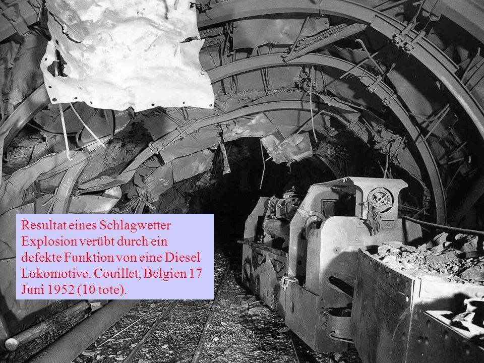 Resultat eines Schlagwetter Explosion verübt durch ein defekte Funktion von eine Diesel Lokomotive.