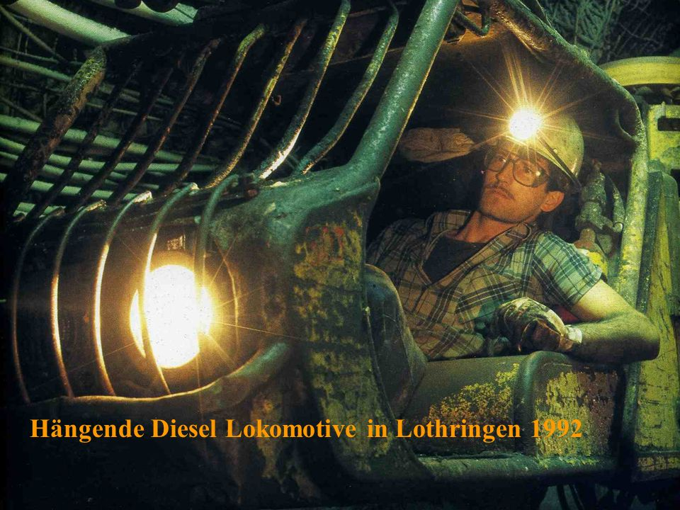 Hängende Diesel Lokomotive in Lothringen 1992