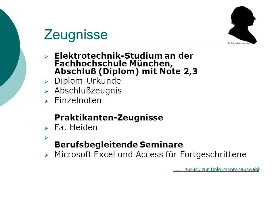 Zeugnisse Elektrotechnik-Studium an der Fachhochschule München, Abschluß (Diplom) mit Note 2,3. Diplom-Urkunde.