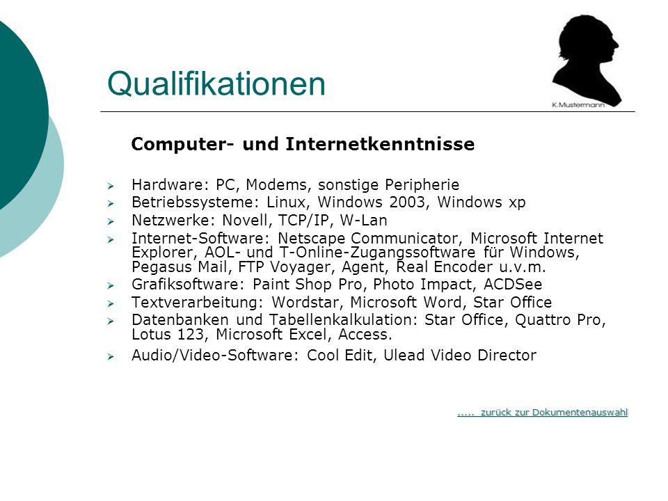 Qualifikationen Computer- und Internetkenntnisse