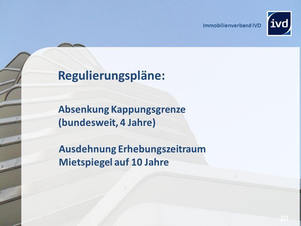 Regulierungspläne: Absenkung Kappungsgrenze (bundesweit, 4 Jahre)