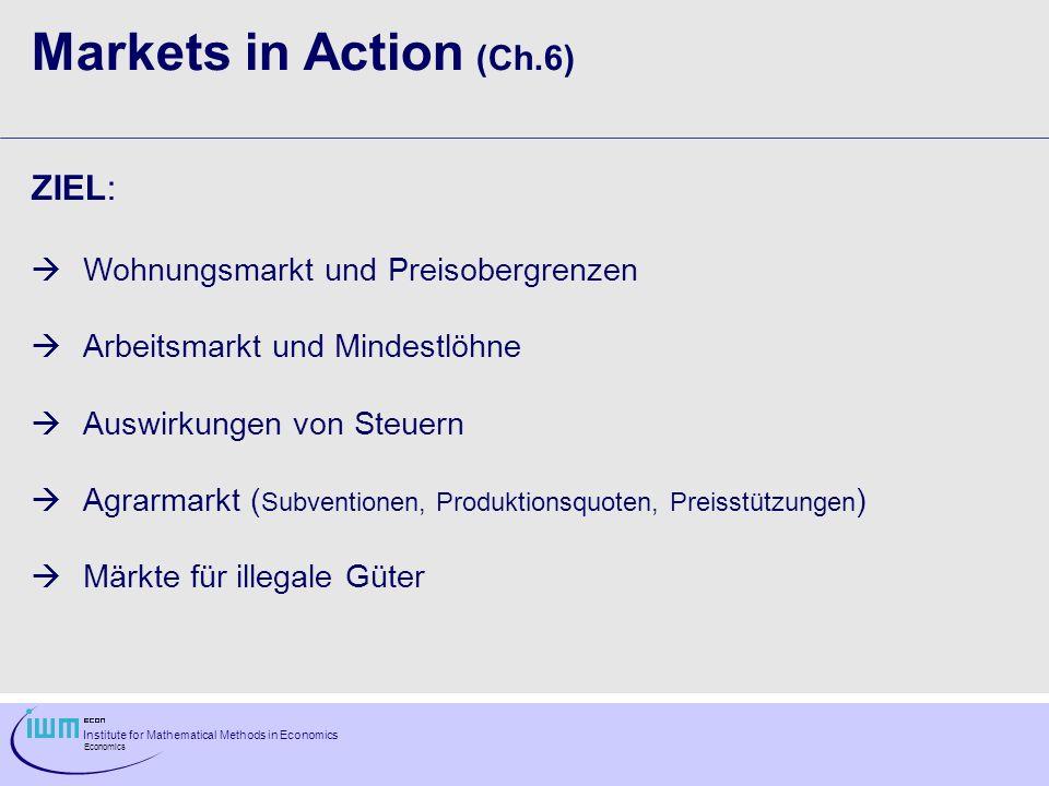 Markets in Action (Ch.6) ZIEL: Wohnungsmarkt und Preisobergrenzen