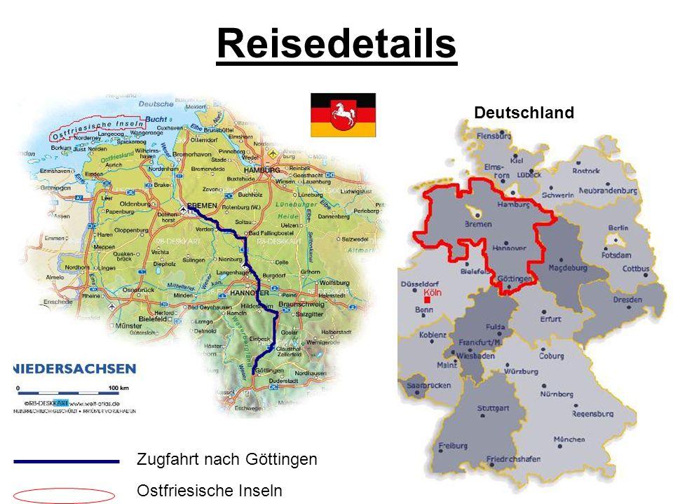 Reisedetails Deutschland Zugfahrt nach Göttingen Ostfriesische Inseln