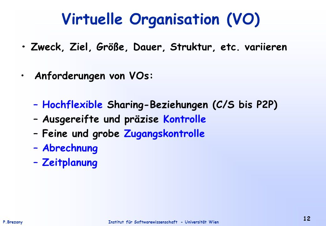 Virtuelle Organisation (VO)