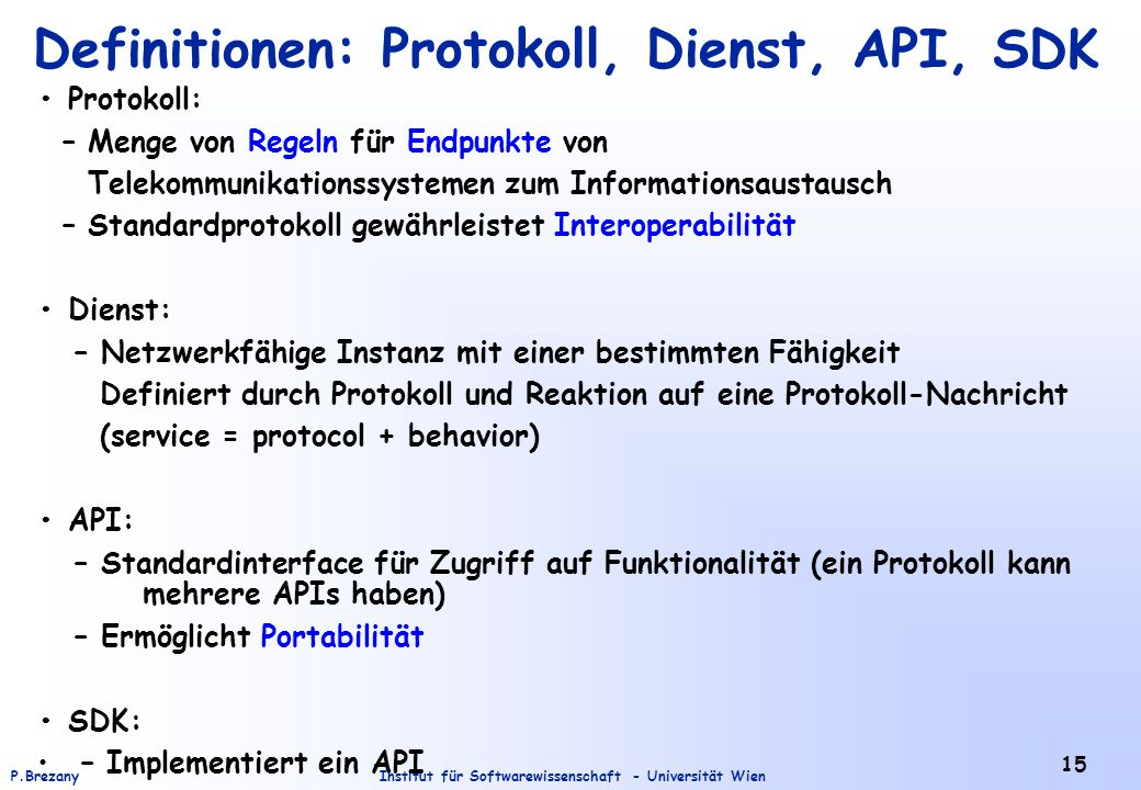 Definitionen: Protokoll, Dienst, API, SDK