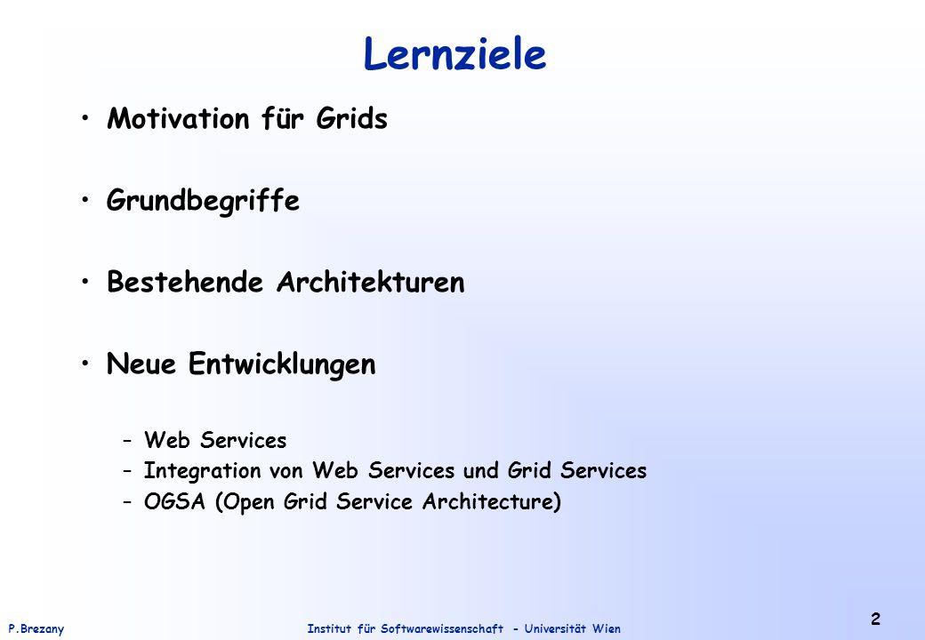 Lernziele Motivation für Grids Grundbegriffe Bestehende Architekturen