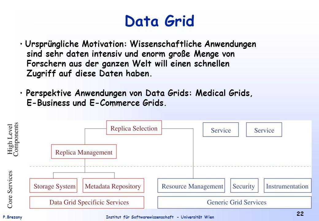 Data Grid Ursprüngliche Motivation: Wissenschaftliche Anwendungen