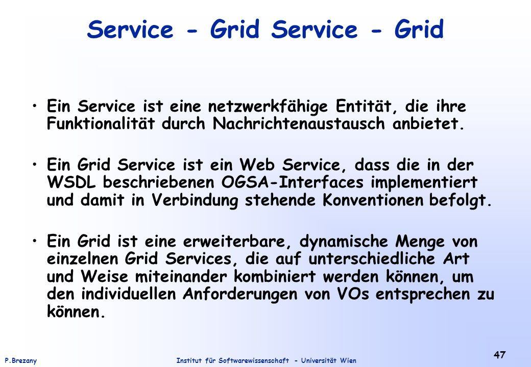 Service - Grid Service - Grid