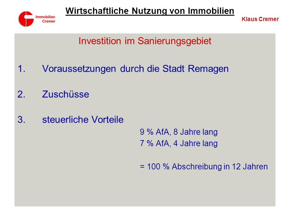Investition im Sanierungsgebiet