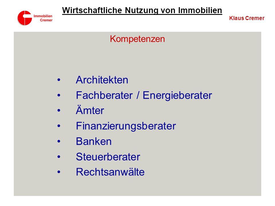 Fachberater / Energieberater Ämter Finanzierungsberater Banken