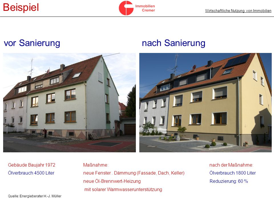 Beispiel vor Sanierung nach Sanierung