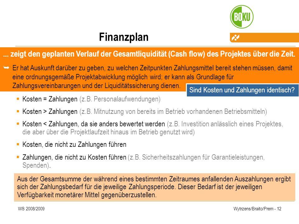 Finanzplan ... zeigt den geplanten Verlauf der Gesamtliquidität (Cash flow) des Projektes über die Zeit.