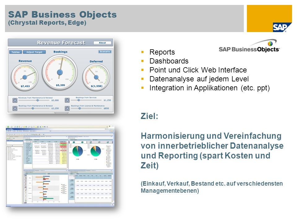 SAP Business Objects Ziel: