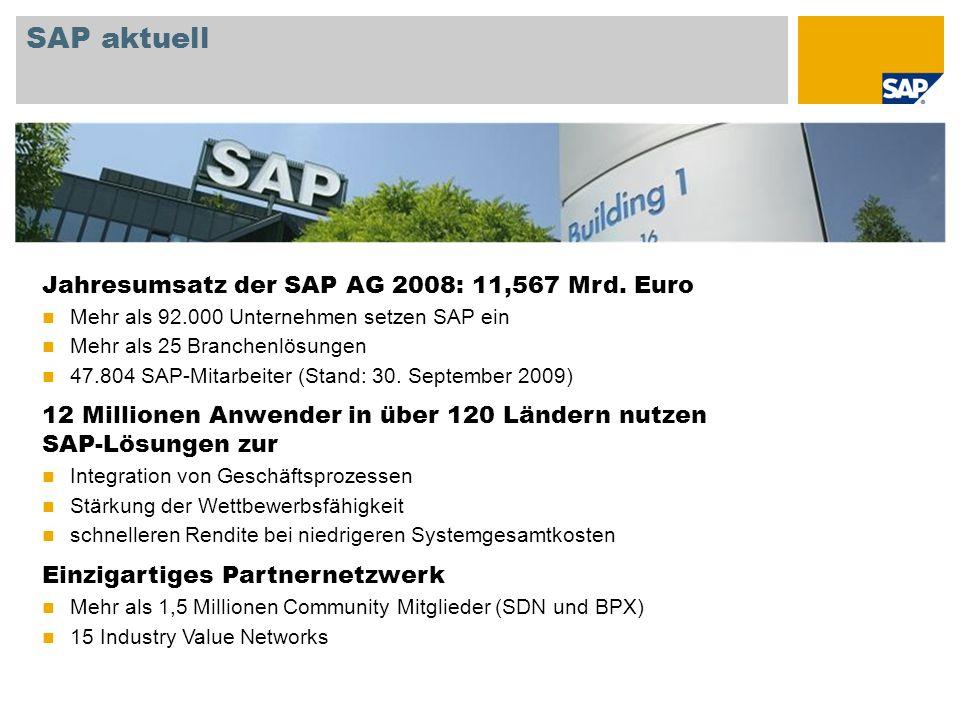 SAP aktuell Jahresumsatz der SAP AG 2008: 11,567 Mrd. Euro