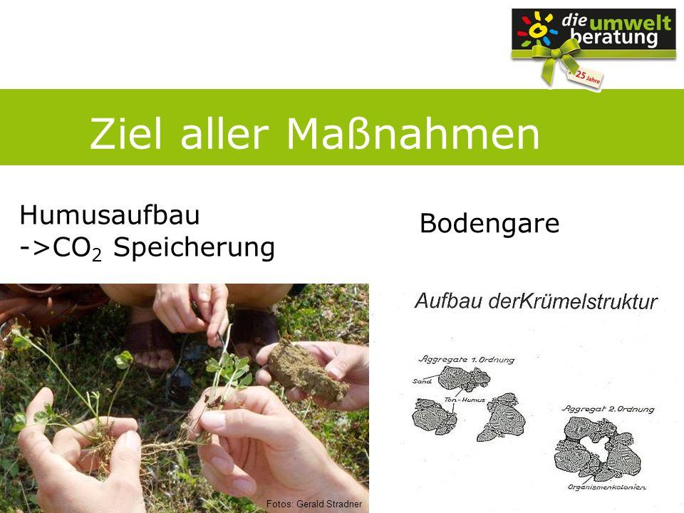 Ziel aller Maßnahmen Humusaufbau Bodengare ->CO2 Speicherung