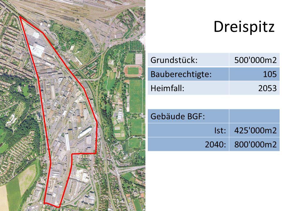 Dreispitz Grundstück: 500 000m2 Bauberechtigte: 105 Heimfall: 2053