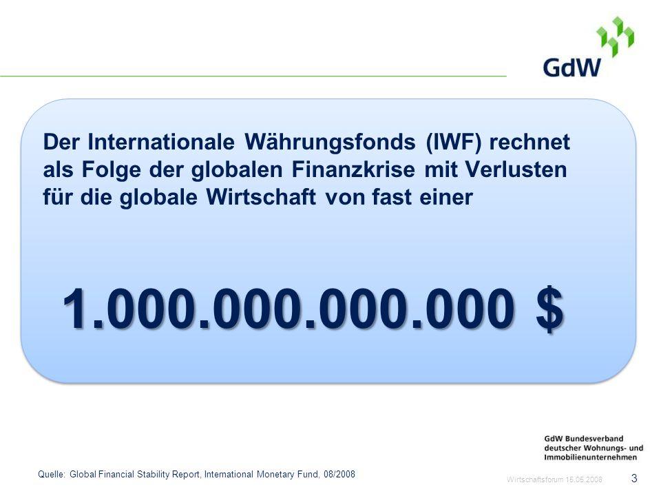 Der Internationale Währungsfonds (IWF) rechnet als Folge der globalen Finanzkrise mit Verlusten für die globale Wirtschaft von fast einer