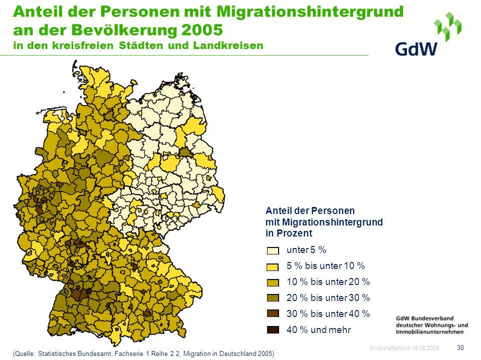 Anteil der Personen mit Migrationshintergrund an der Bevölkerung 2005 in den kreisfreien Städten und Landkreisen