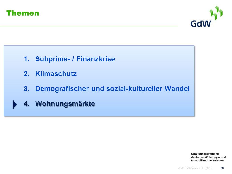 Themen Subprime- / Finanzkrise Klimaschutz