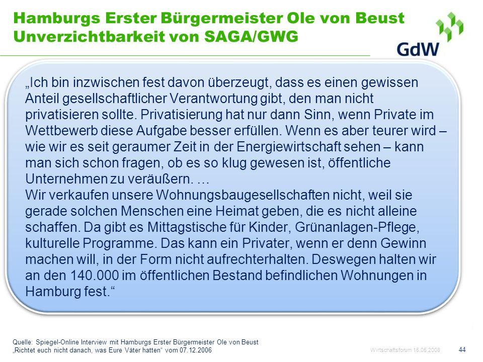 Hamburgs Erster Bürgermeister Ole von Beust Unverzichtbarkeit von SAGA/GWG