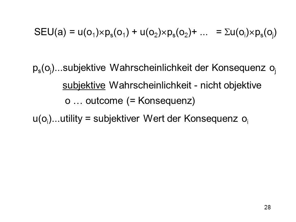 SEU(a) = u(o1)ps(o1) + u(o2)ps(o2)+ ... = u(oi)ps(oj)