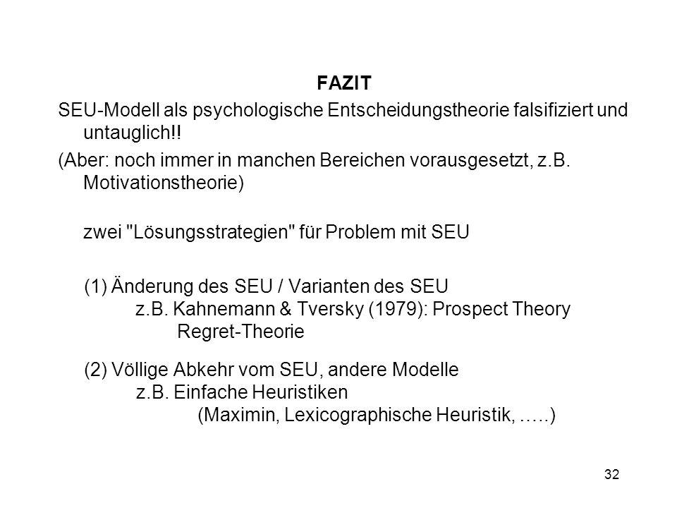 FAZIT SEU-Modell als psychologische Entscheidungstheorie falsifiziert und untauglich!!