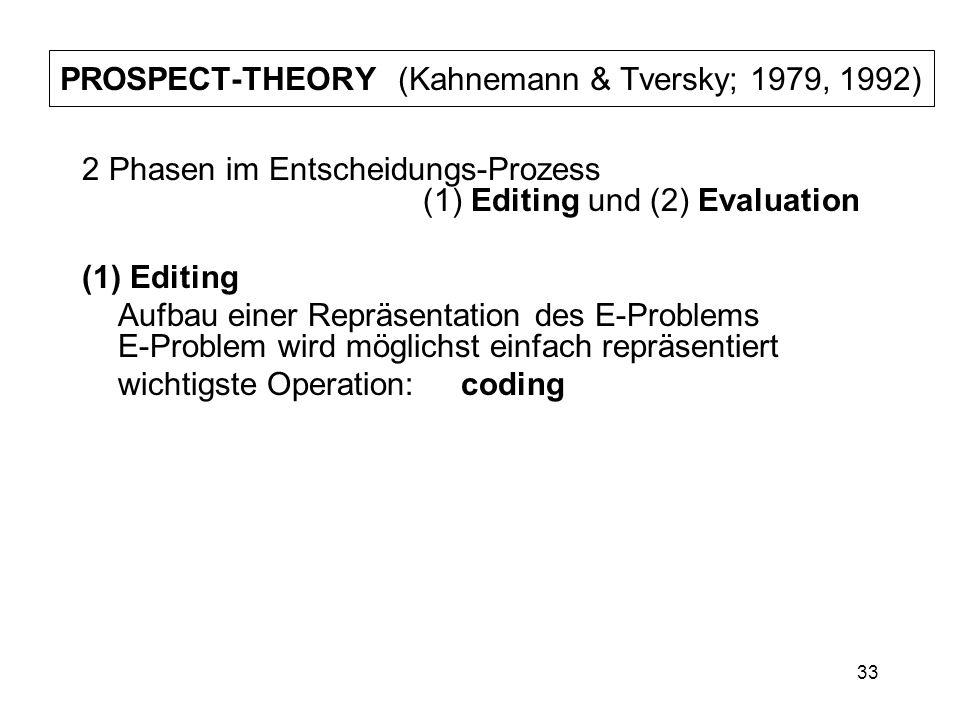 PROSPECT-THEORY (Kahnemann & Tversky; 1979, 1992)