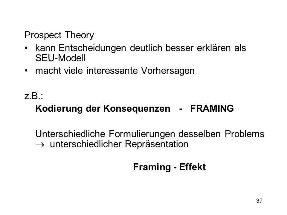 Prospect Theory kann Entscheidungen deutlich besser erklären als SEU-Modell. macht viele interessante Vorhersagen.