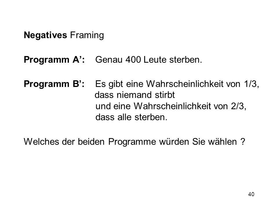 Negatives Framing Programm A': Genau 400 Leute sterben.