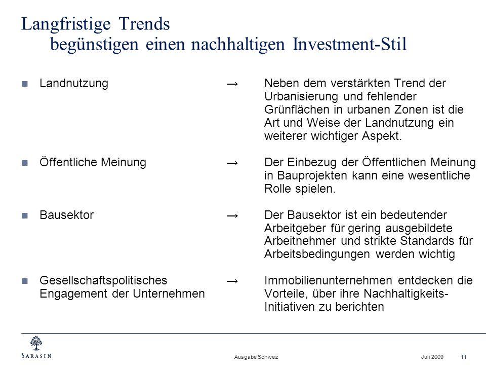 Langfristige Trends begünstigen einen nachhaltigen Investment-Stil