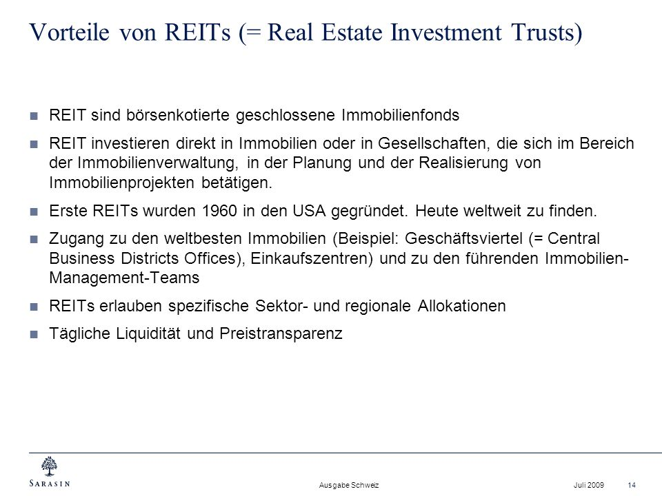 Vorteile von REITs (= Real Estate Investment Trusts)