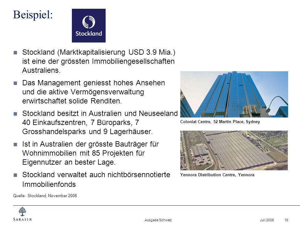 Beispiel: Stockland (Marktkapitalisierung USD 3.9 Mia.) ist eine der grössten Immobiliengesellschaften Australiens.