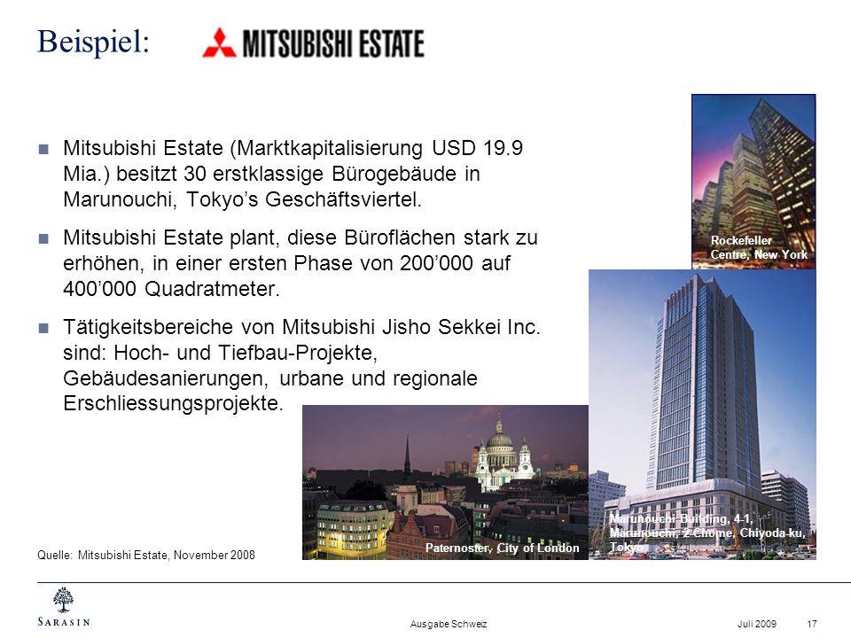 Beispiel: Mitsubishi Estate (Marktkapitalisierung USD 19.9 Mia.) besitzt 30 erstklassige Bürogebäude in Marunouchi, Tokyo's Geschäftsviertel.
