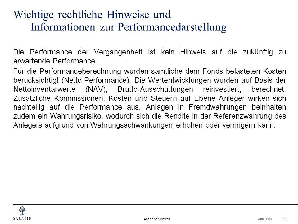 Wichtige rechtliche Hinweise und Informationen zur Performancedarstellung