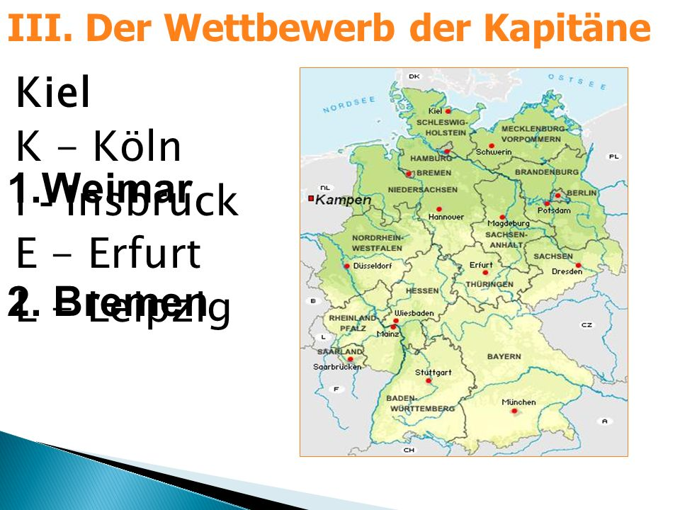 Kiel K - Köln I - Insbruck E - Erfurt L - Leipzig