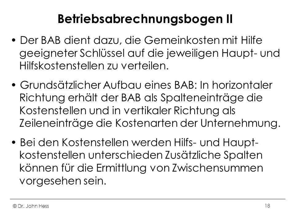 Betriebsabrechnungsbogen II