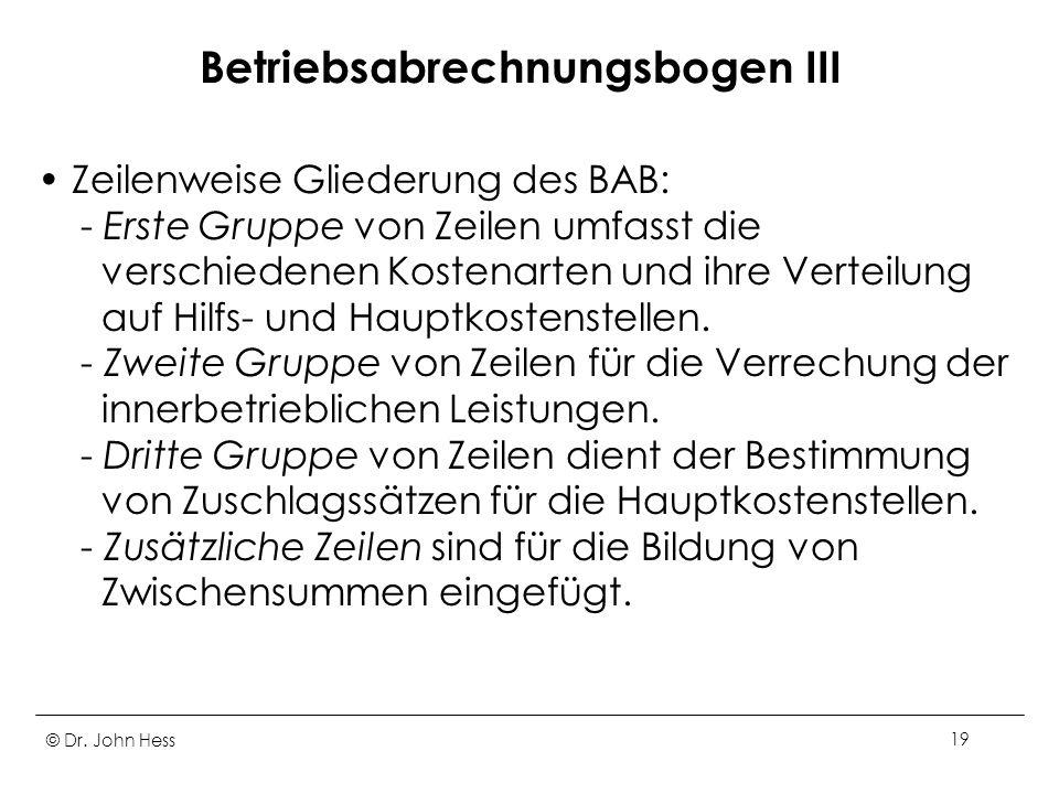 Betriebsabrechnungsbogen III