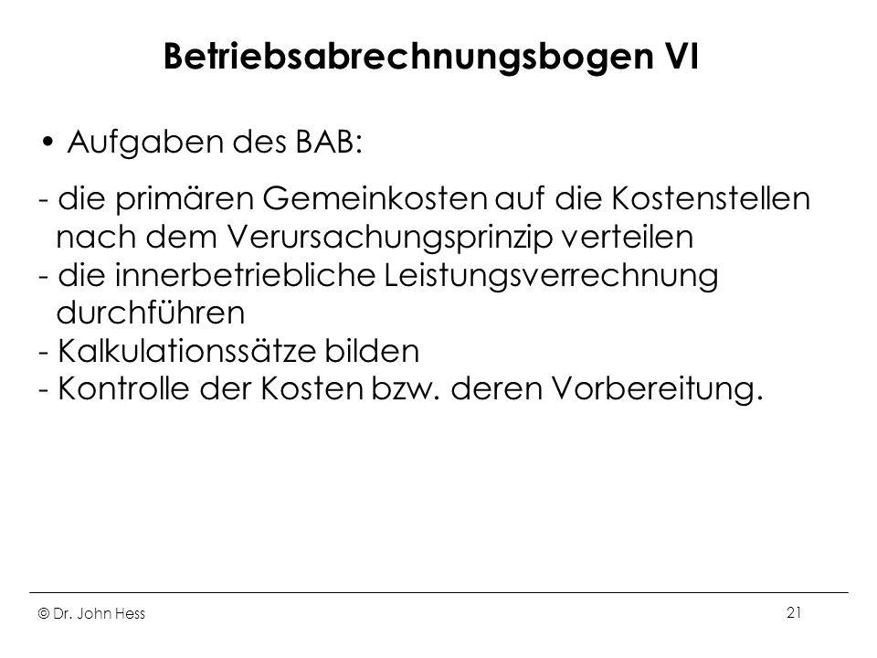 Betriebsabrechnungsbogen VI