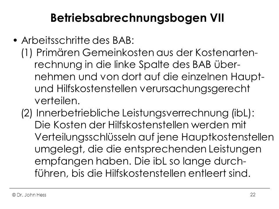 Betriebsabrechnungsbogen VII