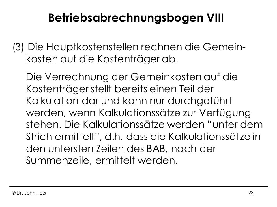 Betriebsabrechnungsbogen VIII